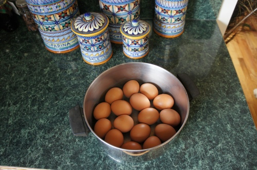Eggs in pot
